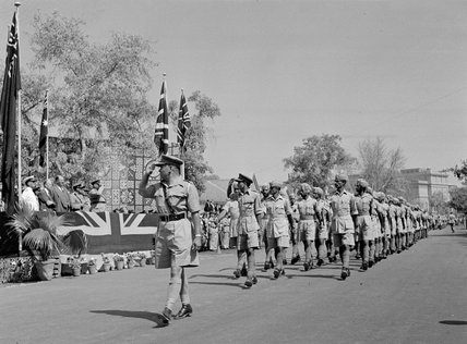 The Indian Contingent marching past a saluting base on Empire Day, Cairo, 1943