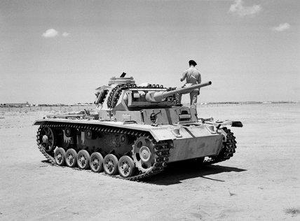 A captured German Panzer Mk III tank, North Africa, 1942 (c)