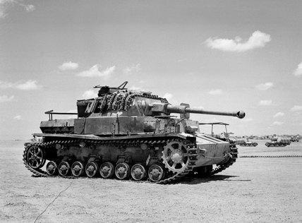 Knocked out German Panzer Mark IV tank, 1944
