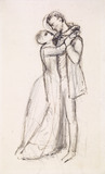 A Huguenot - Sketch of a Woman placing Chain and Cross round her Lover's Neck