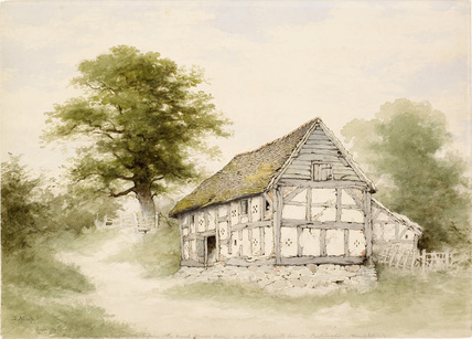 Watercolour - Old Half-Timbered Barn Near Maxstoke