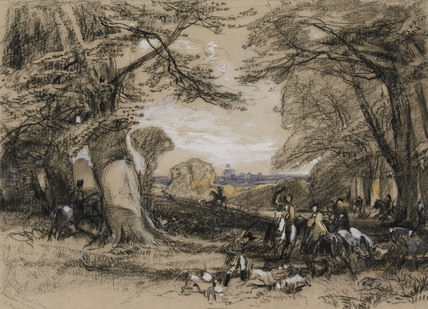 Study For A Hunt Scene In Windsor Forest