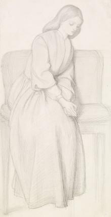Dante's Vision of Rachel and Leah - Figure Study of Rachel