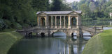 Near view of the Palladian Bridge at Prior Park, designed by Richard Jones in 1755, and built of Bath stone