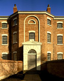 The central Front Door of the workhouse, steps and the Master's room windows on the first floor