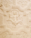 Detail of the stone carved Jacobean doorcase in the Hall Gallery It was moved to its present site from the old staircase in 1767