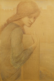 DRAWING OF SEATED GIRL by Burne-Jones, Drawing Room at Standen