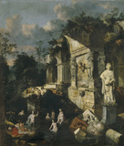 CLASSICAL RUINS WITH DIANA AND NYMPHS by John Griffier the Elder in the Drawing Room over the door