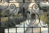 Detail of frost on wrought iron gateway at Lytes Cary Manor, Somerset