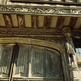 View showing wood carving on Paycockes Merchant House c1500