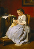 GIRL IN BLUE DRESSING A DOLL by James Crayer (Dutch, nineteenth century)