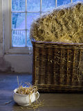 A basket containing straw in the Apprentice House Dormitory at Quarry Bank Mill, Styal
