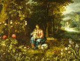 THE REST ON THE FLIGHT INTO EGYPT by Jan Brueghel II or van Kessel and Peeter van Avont at Belton House