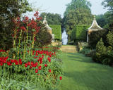 The Red Border at Hidcote Manor Gardens (Gloucestershire) showing Tulipa `Red Shine' and Rheum Palmatum