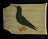 A yellow flag at Trerice, embroidered with a Cornish chough, which flew at Trerice during the summer of 1940 when the Local Defence Volunteers drilled on the Parade Ground