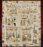 Close-up of the firescreen made of a piece of antique Indian embroidery depicting scenes from the life of the Hindu god Krishna, in the Dining Room at Bateman's