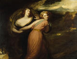 MIRTH AND MELANCHOLY (1788) by George Romney (1734-1802) from the North Gallery at Petworth (Dec 1992)