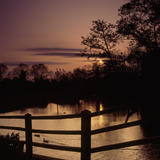 The bridge over the millstream at sunset at Flatford Mill, Suffolk, UK