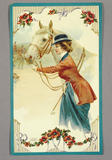 Textile Trade Label from Quarry Bank Mill depicting a lady with with a white horse. The picture is framed with red poppy-like flowers and leaves.