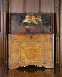 Mid-seventeenth-century chest with painted panel in the lid depicting the embrace of Elizabeth and the Virgin Mary, in the Great Hall at Great Chalfield Manor, near Melksham, Wiltshire