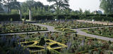 The parterre at Hanbury Hall in late summer 2002; it was re-created by the National Trust based upon plans and illustrations and a bird's-eye drawing by James Doughartry of 1732