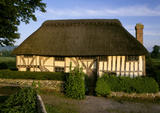 West front of the thatched, half-timbered house beside the Tye