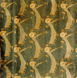 Curtain in the Parlour at Stoneacre designed by Herbert Horne (1864-1916) for the Century Guild and called 'Angel with the Trumpet'