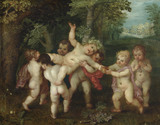 """PUTTI ENACTING A BACCHANALIAN SCENE by """"Octavo Rene"""" (Otto van Veen) (1556-1629), painting in the Green Closet at Ham House, Richmond-upon-Thames"""