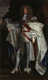 HENRY JERMYN, EARL OF ST ALBANS (d.1684) IN GARTER ROBES, dated and inscribed 1674, by Sir Peter Lely and Studio. Painting in the State Dressing Room at Kedleston Hall, Derbyshire.