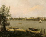 CHELSEA FROM THE THAMES by Antonio Canaletto (1697-1768).It is the left half of a view painted 1746-48,showing the greenhouse of the Physic Garden on the left and part of the Chelsea hospital on the right. Credit Line :