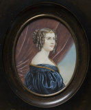 JANE DIGBY, LADY ELLENBOROUGH, (1807-81) an oval miniature by Knight after the portrait by Josef Stieler, commissioned by King Ludwig I of Bavaria for the Gallery of Beauties, at Berrington Hall, Herefordshire