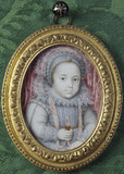 AN UNKNOWN CHILD by Isaac Oliver (1556?-1617), miniature painting in the Green Closet at Ham House, Richmond-upon-Thames