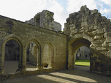 The three arches of the Screens Passage at Bodiam Castle, East Sussex, built between 1385 and 1388