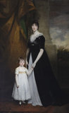 LADY CAROLINE VILLIERS, LADY PAGET, AND HER SON HENRY by John Hoppner, RA (1758-1810), painting in the Music Room at Plas Newydd, Anglesey