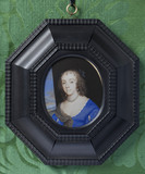 UNKNOWN LADY by Samuel Cooper (1609-1672), miniature painting in the Green Closet at Ham House, Richmond-upon-Thames