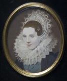 LADY OF THE DIGBY FAMILY, a copy of a miniature by Isaac Oliver, 1633, at Berrington Hall, Herefordshire