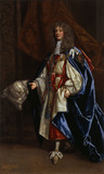 HENRY BENNET, EARL OF ARLINGTON, (c.1620-85), IN GARTER ROBES by Sir Peter Lely and Studio, inscribed and dated 1674. Painting in the State Bedchamber at Kedleston Hall, Derbyshire.