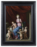 THE VIRGIN AND CHILD WITH ST JOHN THE BAPTIST AND CHILD ANGELS by Jacques Stella (1596-1657), painting in the Green Closet at Ham House, Richmond-upon-Thames