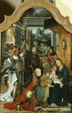 Detail of the central panel of a TRIPTYCH, depicting the birth of Jesus and the adoration of