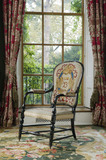 Eighteenth-century French gilt chair, embroidered by Mary Anne Disraeli with her viscountess's coronet in the Drawing Room at Hughenden Manor, Buckinghamshire, home of prime minister Benjamin Disraeli between 1848 and 1881