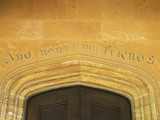 Carved inscription over the west front door at Montacute House, Somerset