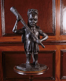 A statuette of Hercules, a modern version of the original which was stolen in the 1960s, in the Hercules Dressing Room at Hanbury Hall, Worcestershire
