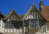 Detail of the Tudor windows and gables on the half-timbered East Range at Ightham Mote, Sevenoaks, Kent, a fourteenth-century moated manor house
