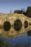 Visitors on the Oxford Bridge on a frosty day at Stowe Landscape Gardens, Buckinghamshire