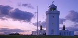 A view of South Foreland Lighthouse, Kent, taken in the evening twilight