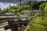 "The restored Tamar sailing barge ""Shamrock"" moored alongside the Quay at Cotehele, near Saltash, Cornwall"