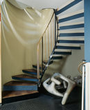 A view of the staircase inside 2 Willow Road, the home of Erno Goldfinger