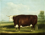 HEREFORD BULL, signed W H Davis, dated 1853