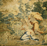 A single surviving tapestry from an `Orpheus and Eurydice' series, showing Eurydice poisoned by a snake