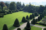 View of the topiary in the Formal Garden at Chirk Castle